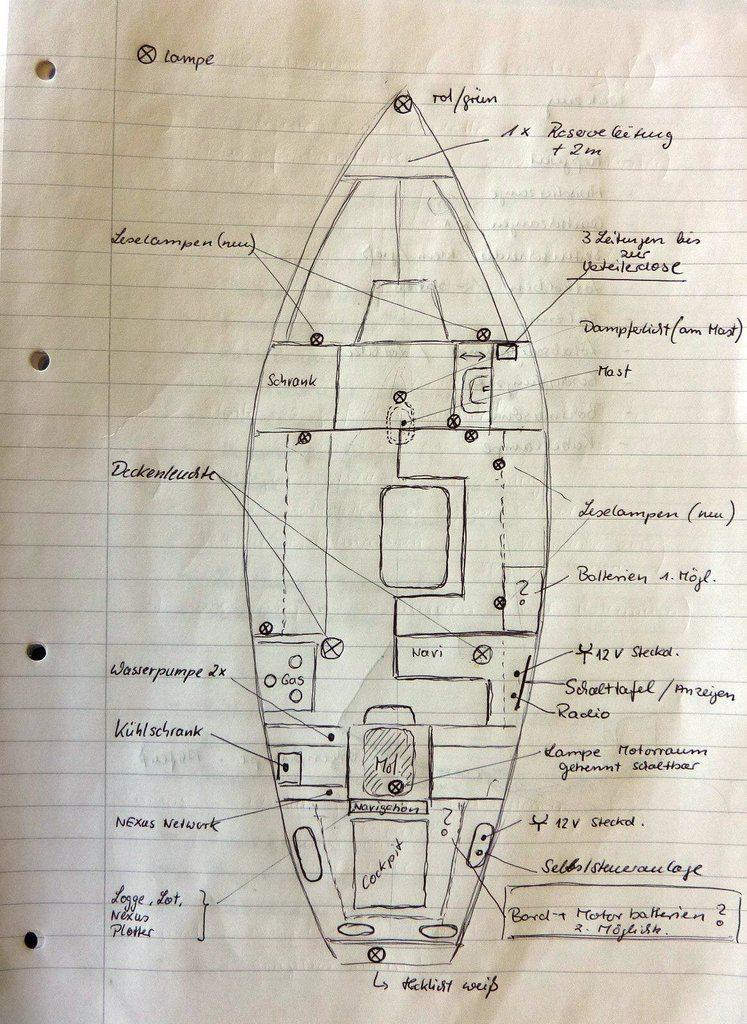 Skizze zur bestehenden elektrische Anlage an Bord