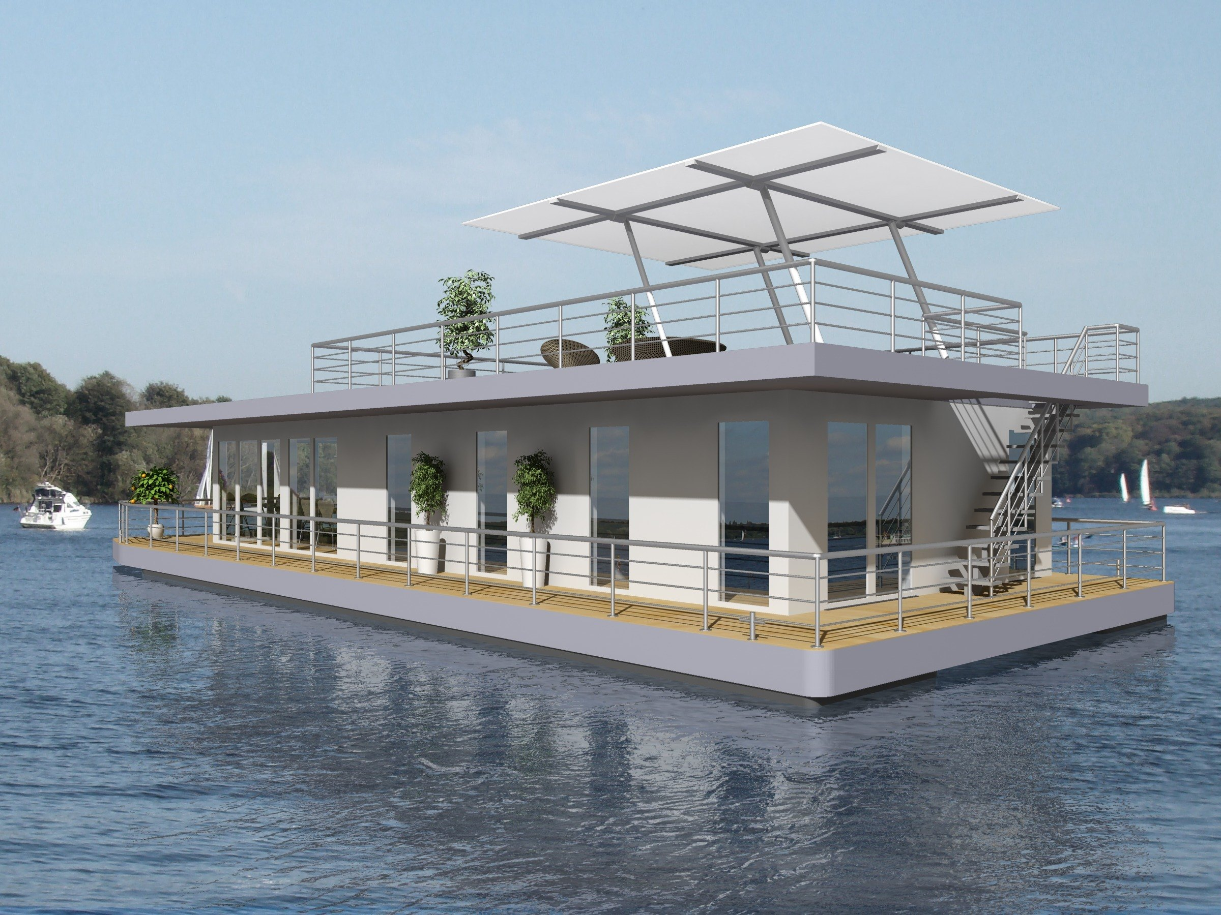 elektro-hausboot von nautic living - modern und individuell gestaltbar